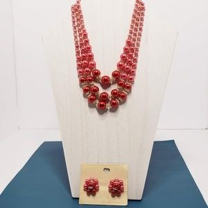 Vintage Japan Beaded Necklace Earring Set 1950s